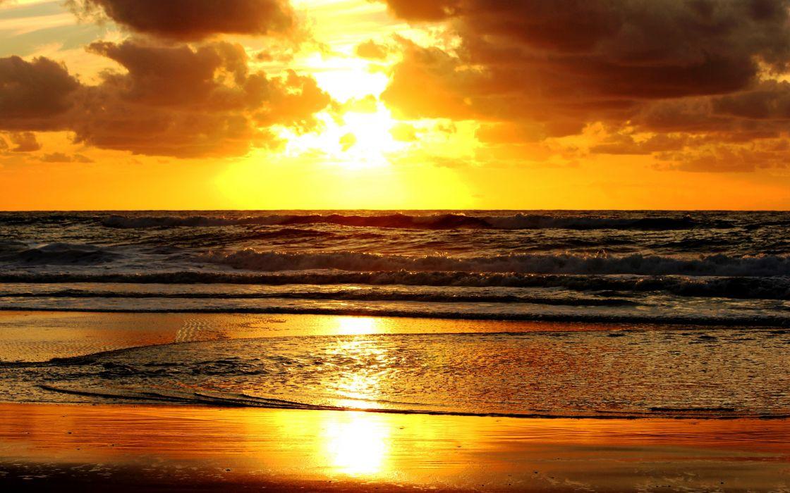 nature beaches ocean sea waves sky clouds sunrise sunset wallpaper