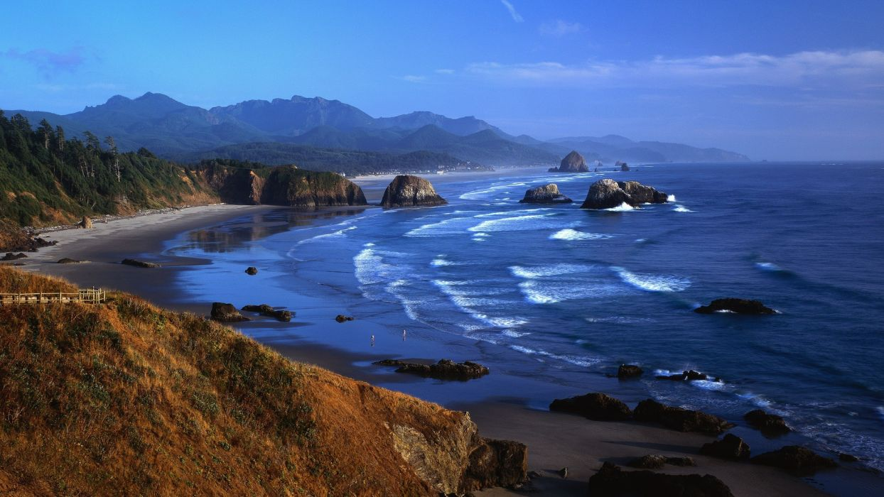 nature landscapes beaches ocean sea coast shore waves cliff people mountains wallpaper