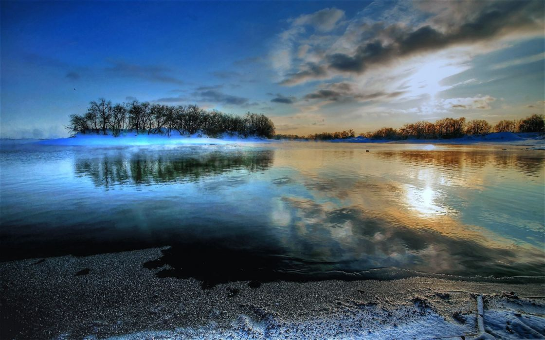 nature landscapes lakes hdr water islands reflection sky clouds sunset sunrise wallpaper