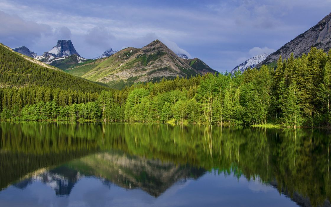 nature landscapes lakes reflection trees forest woods mountains sky wallpaper