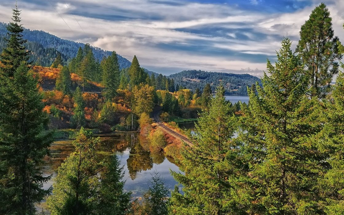 nature landscapes lakes trees forest autumn fall woods railroad tracks mountains hills sky clouds hdr wallpaper