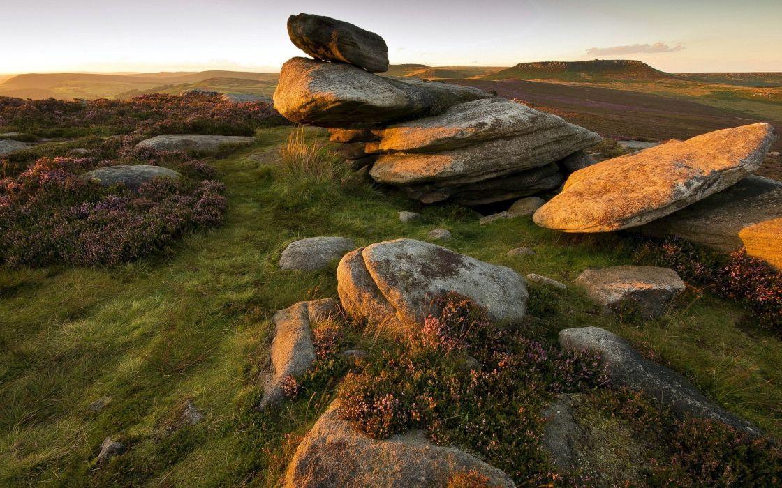 nature landscapes stone rock sunset sunrise wallpaper