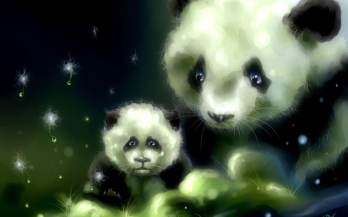 art panda bears babies cute wallpaper