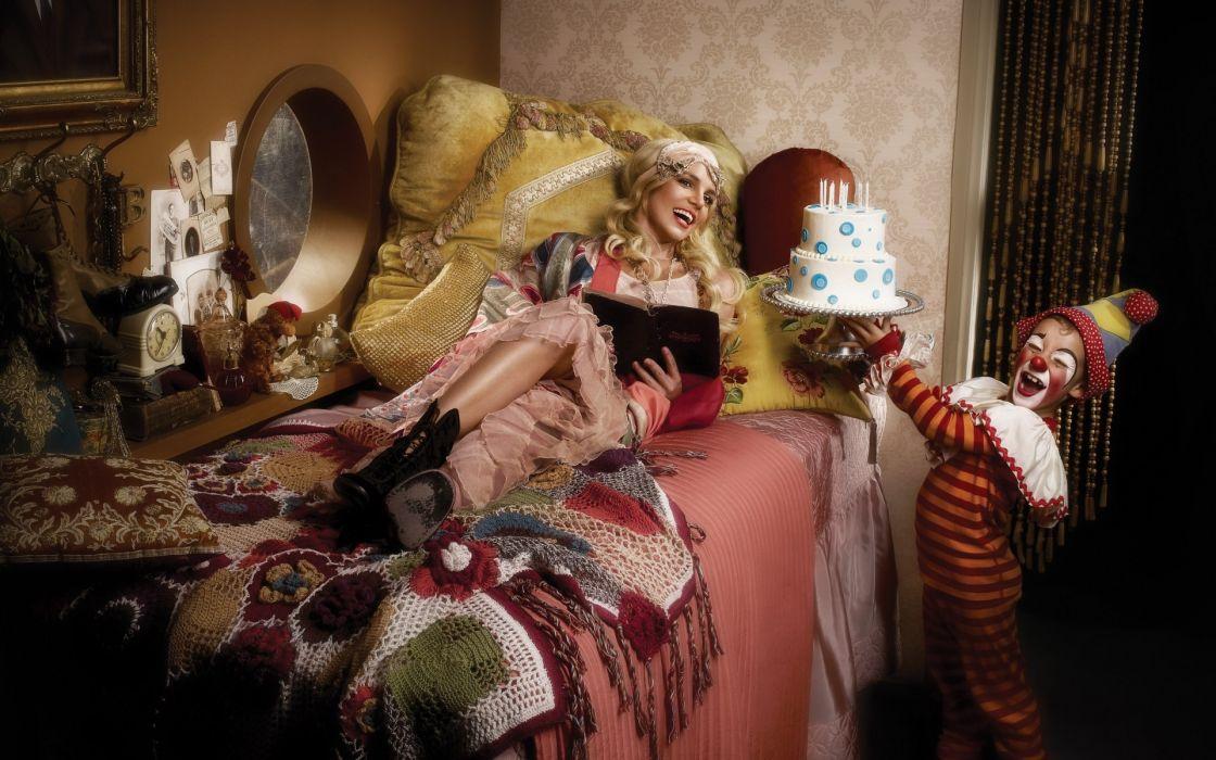 Britney Spears singer pop clown women babes sexy blondes wallpaper