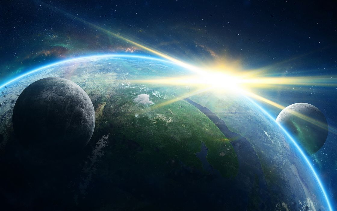 cosmos sci-fi earth atmosphere moon plantets star sunlight sunrise sunset wallpaper