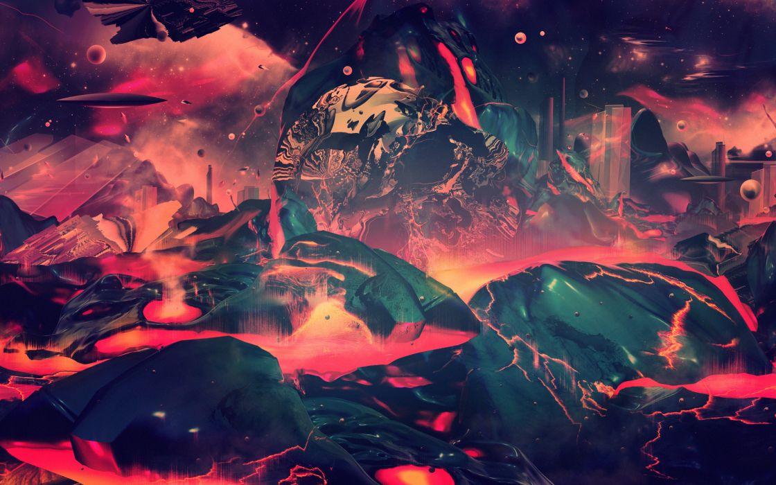 cg digital art lava landscapes psychedelic fire wallpaper