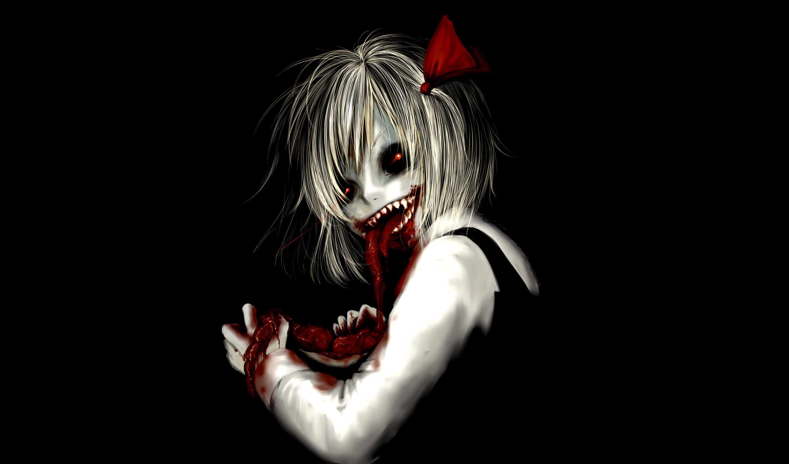Dark Horror Anime Macabre Blood Guts Evil Girl Wallpaper 2550x1500