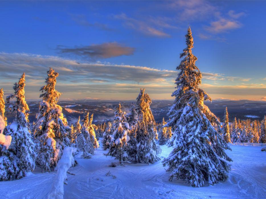 nature landscapes winter snow mountains sunset sunrise sky hdr wallpaper