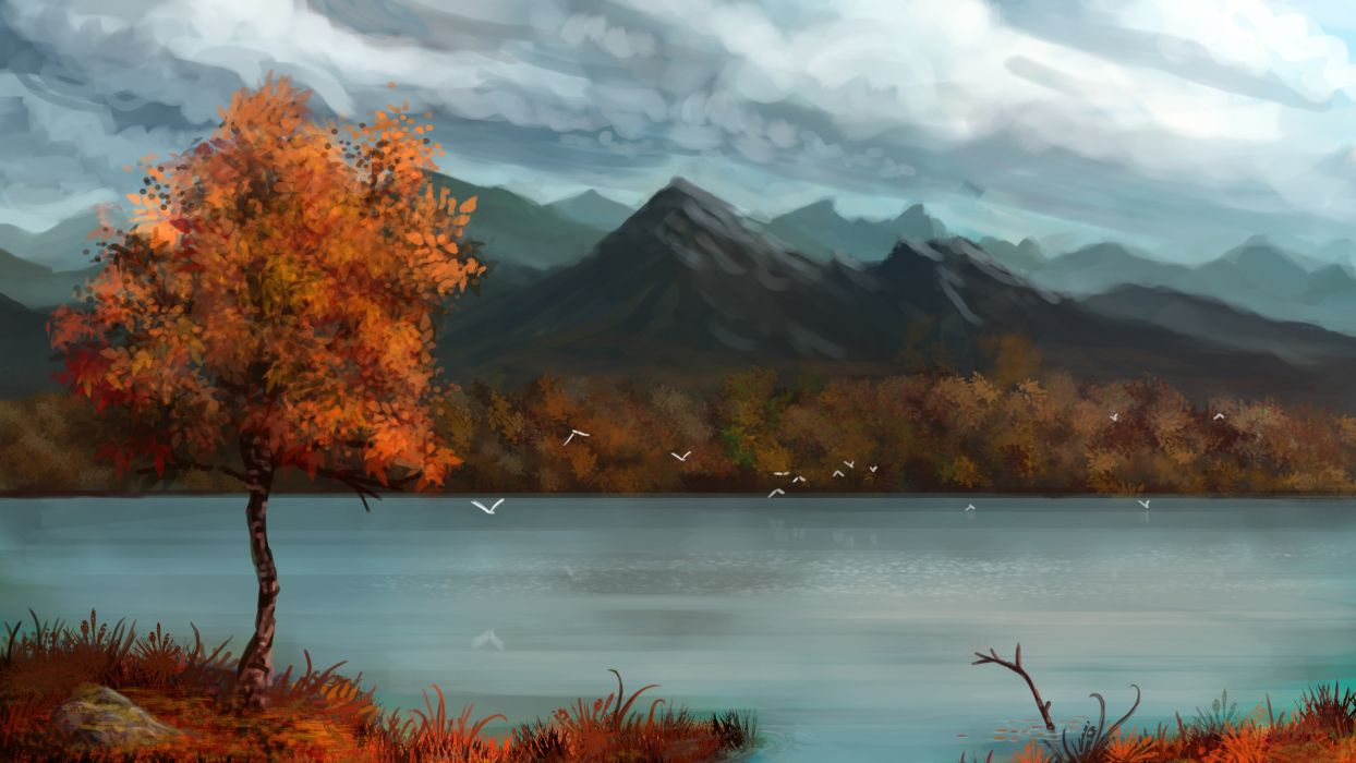 paintings art landscapes lakes mountains sky clouds tree forest autumn fall wallpaper