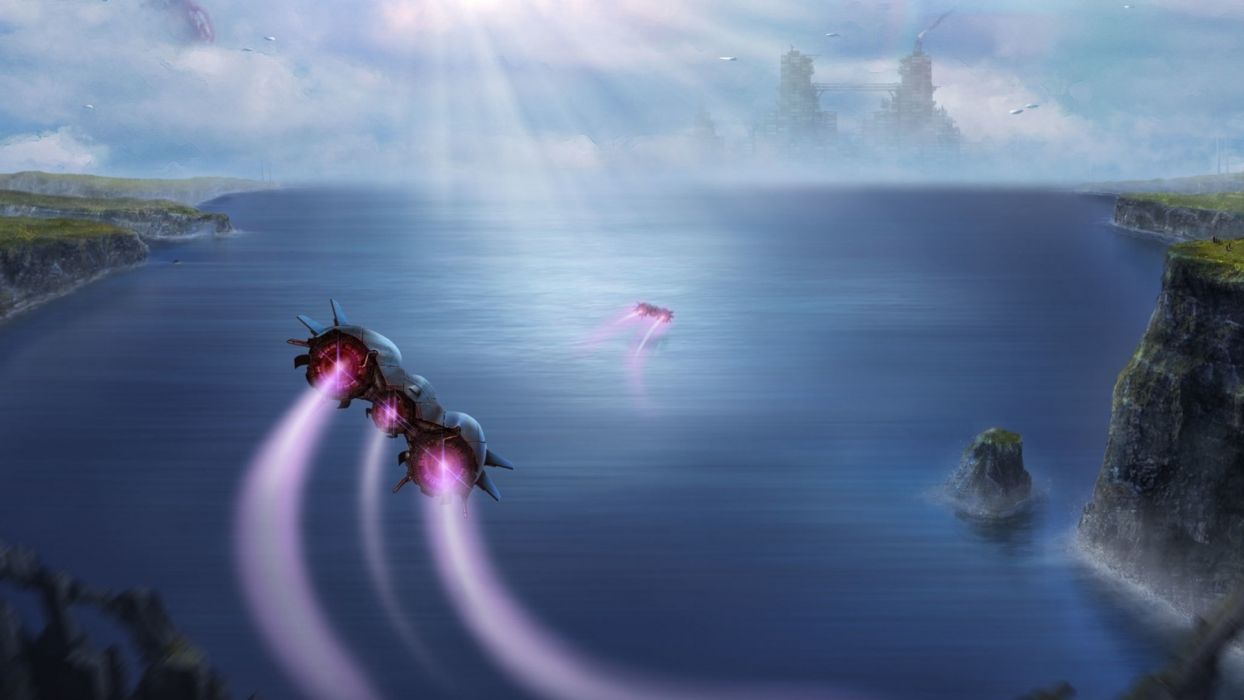 sci-fi space spaceship spacecraft landscapes lakes rivers wallpaper