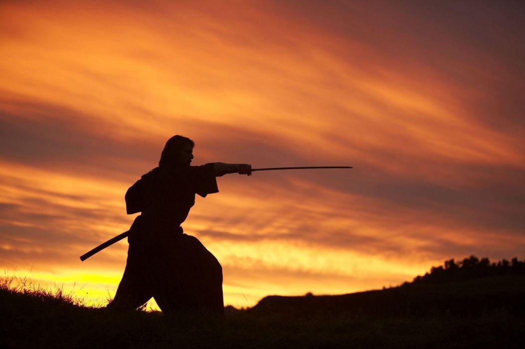 The Last Samurai movies tom cruise weapons swords katana martial arts sunset sunrise sky clouds wallpaper