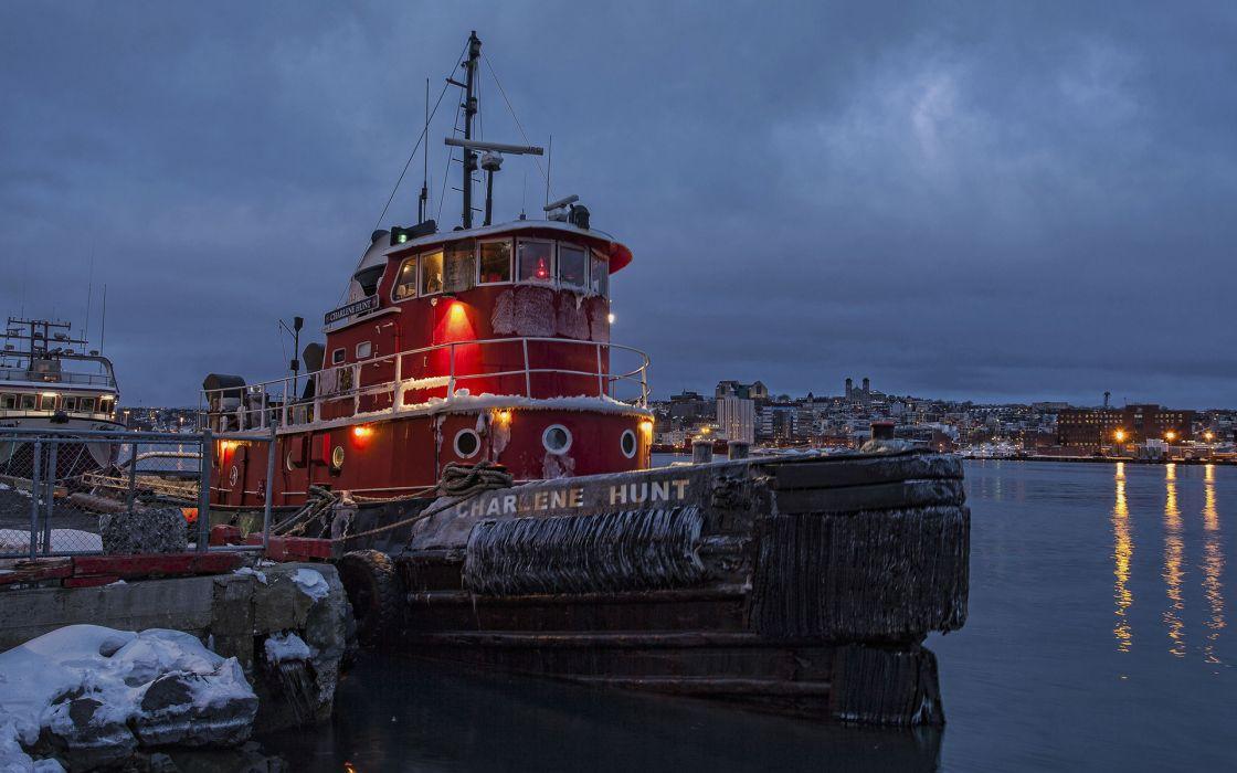 vehicles ship boat tug rivers cities sky wallpaper