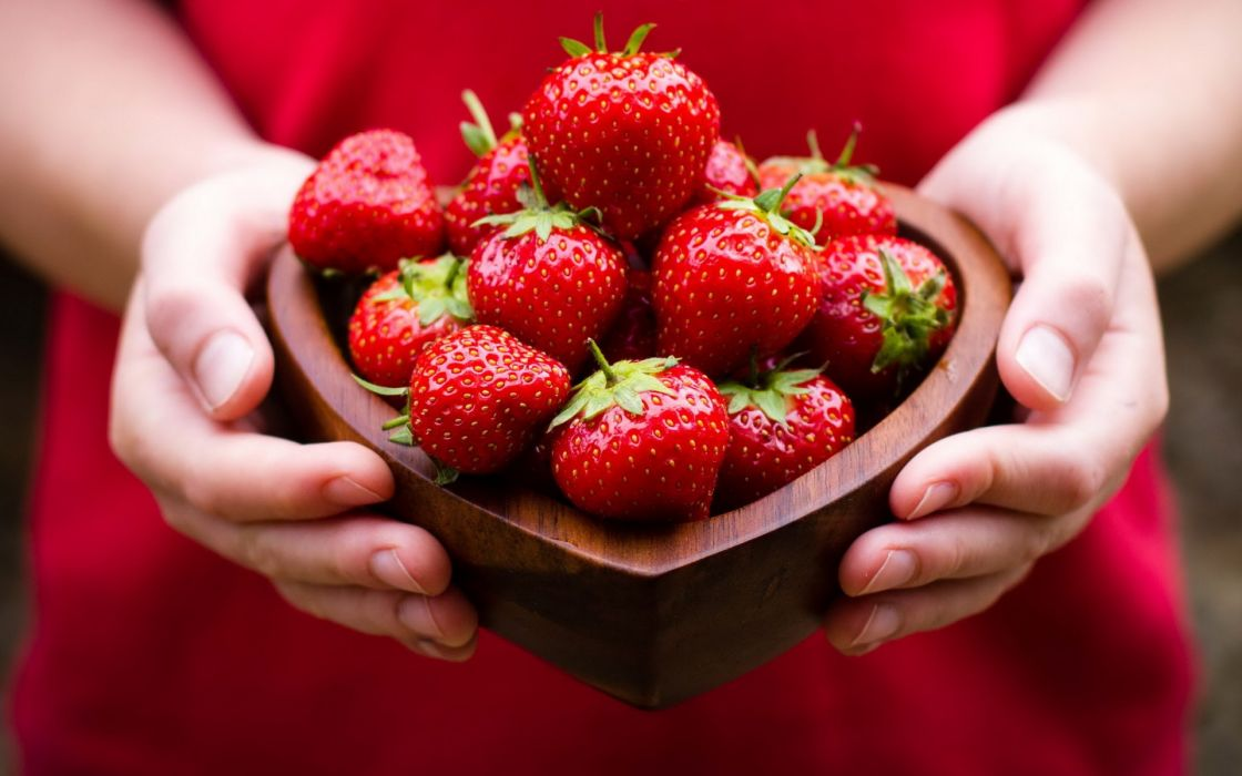 strawberries fruit still life red berry hands wallpaper