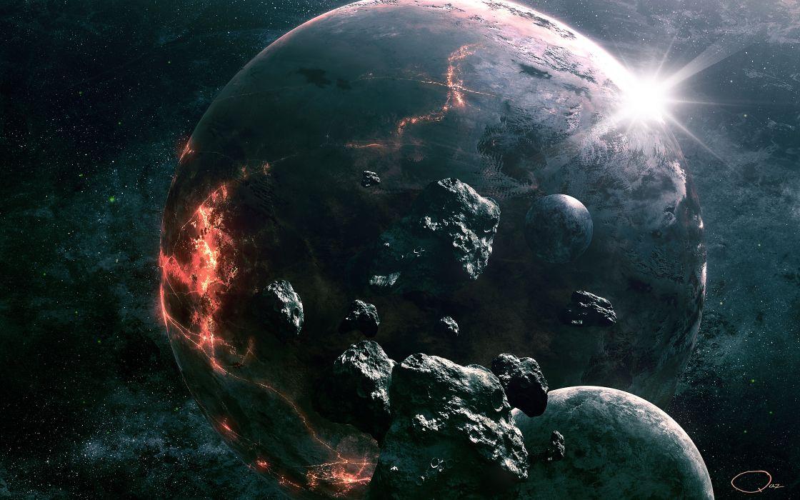 Art QAuZ space planet rocks destruction meteorites space outer apocalyptic stars wallpaper