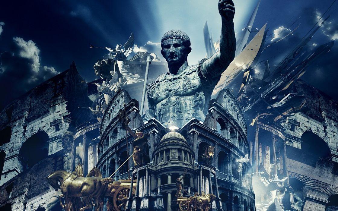 august digital art photomanipulations cg architecture buildings history 3d statue wallpaper