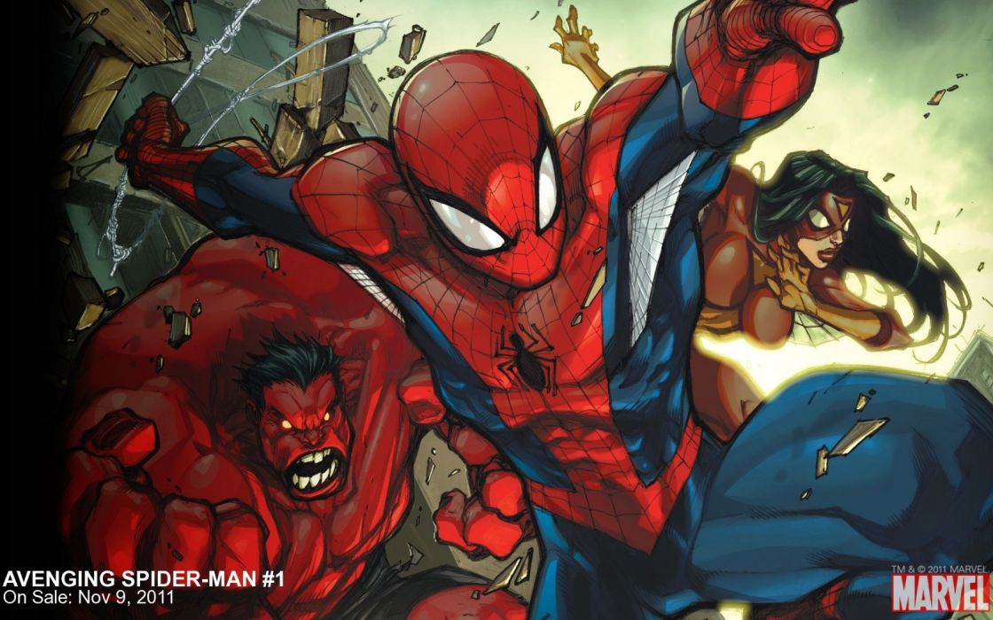 Avenging Spider-Man Red Hulk Spider-Woman Marvel comics spiderman spiderwoman wallpaper
