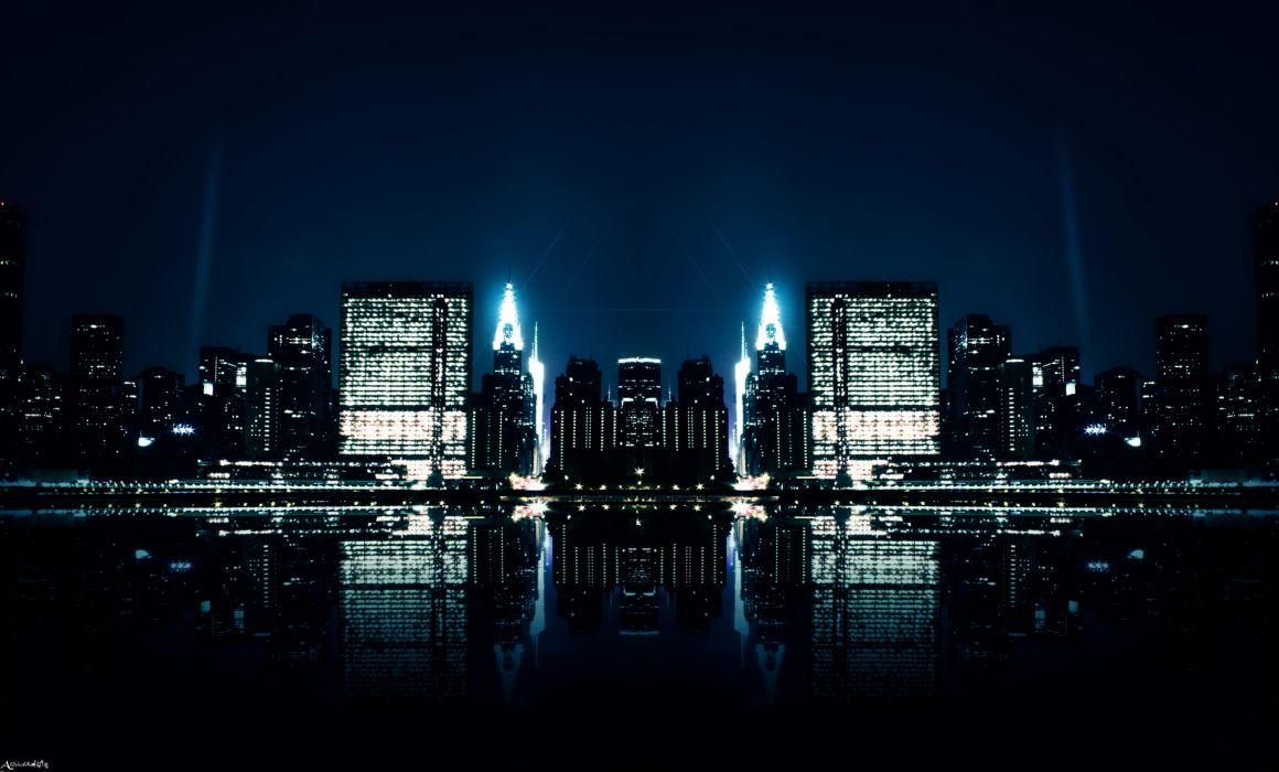 abdelrahman world cities night lights water reflection architecture buildings wallpaper