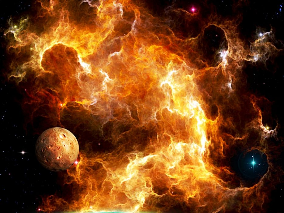cg digital art sci-fi space nebula planets stars color wallpaper
