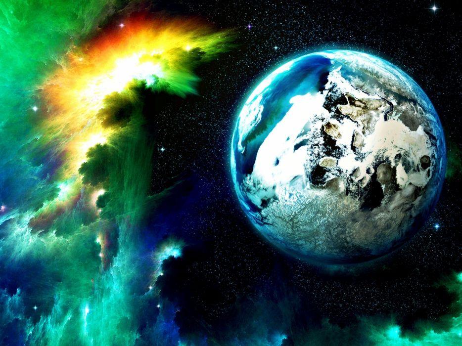 cg digital art sci-fi space planets moons nebula stars   f wallpaper