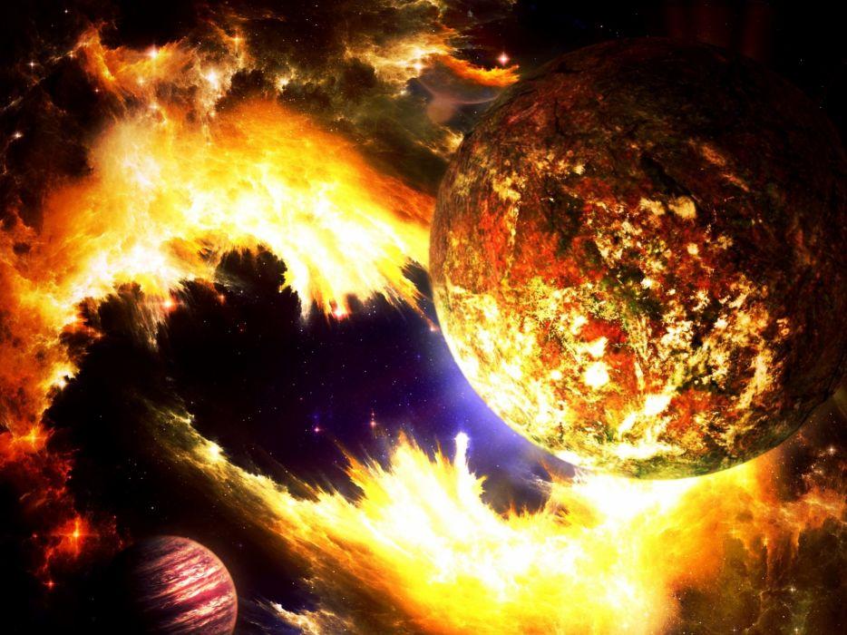 cg digital art sci-fi space planets nebula moon wallpaper
