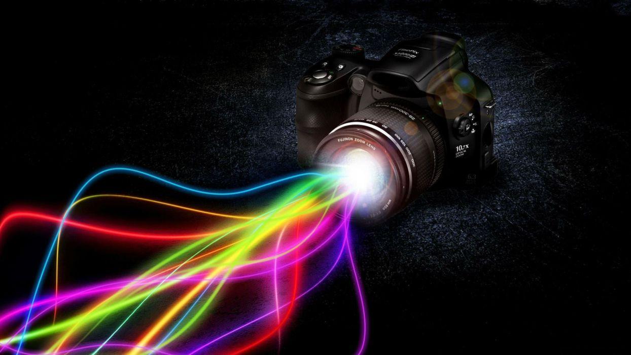 cg digital art tech camera manipulation rainbow color wallpaper