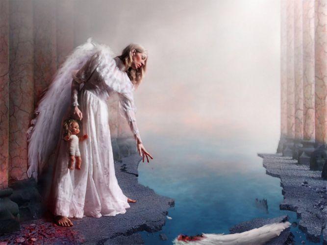 Dark horror fantasy art fallen angel blood toys doll wings mood sad sorrow women females - Sad angel wallpaper ...