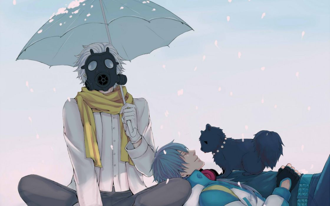 DRAMAtical Murder umbrella cats animals gas mask winter snow boy flakes snow wallpaper
