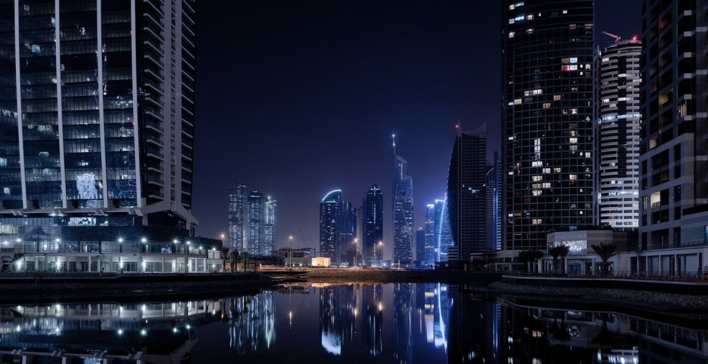 dubai world cities architecture buildings skyscraper lakes reflection night lights wallpaper