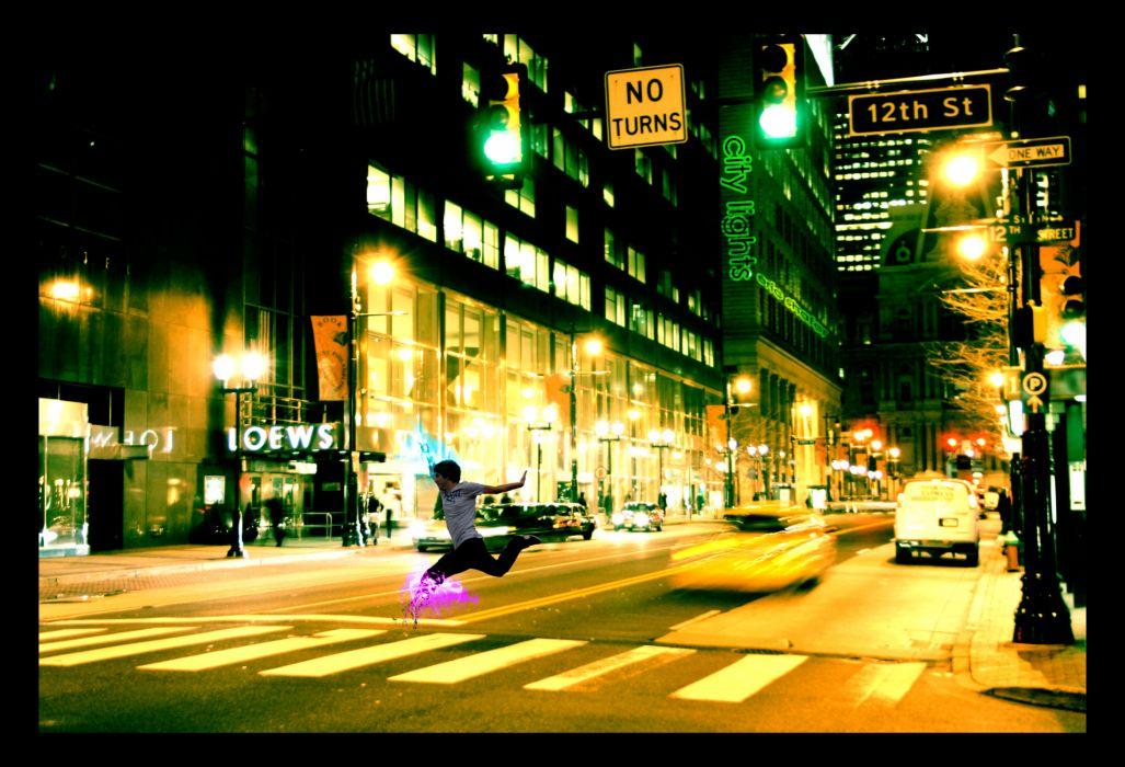 cg digital art manipulation people men males mood world roads architecture buildings traffic cars night lights photography wallpaper