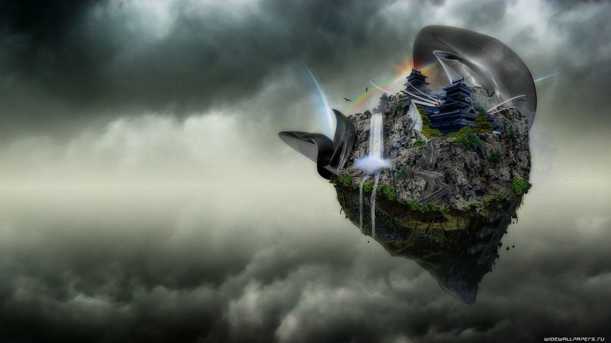 cg digital art nature islands waterfall dream asian oriental fantasy castles architecture buildings sky clouds wallpaper