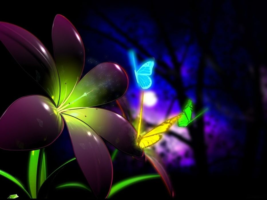 flowers digital art fantasy butterfly forest trees cg wallpaper