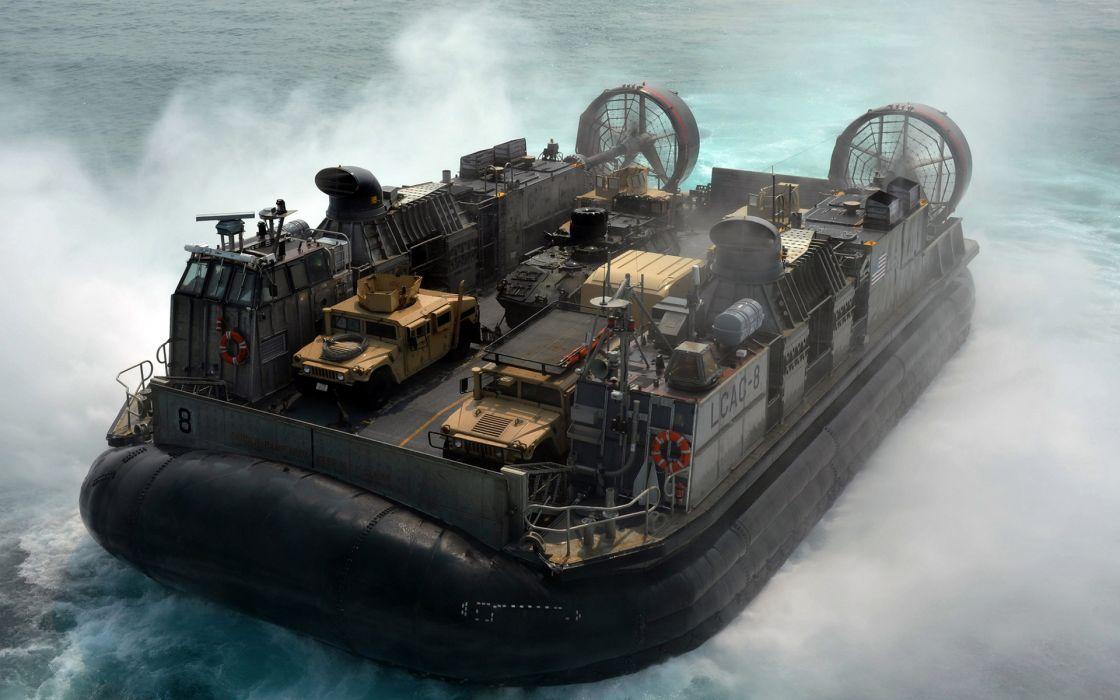 Hovercraft military watercrafts boats ship navy ocean sea trucks wallpaper