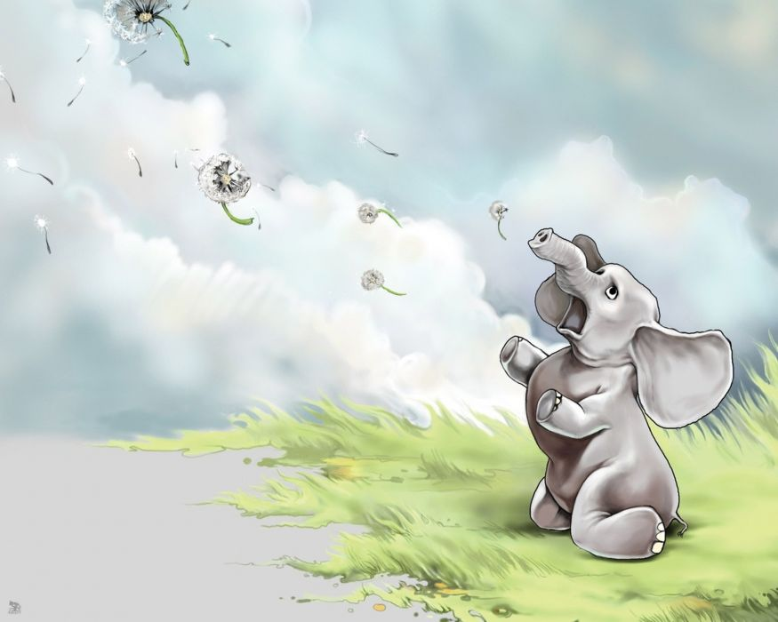 elephants animals cartoon cute wallpaper
