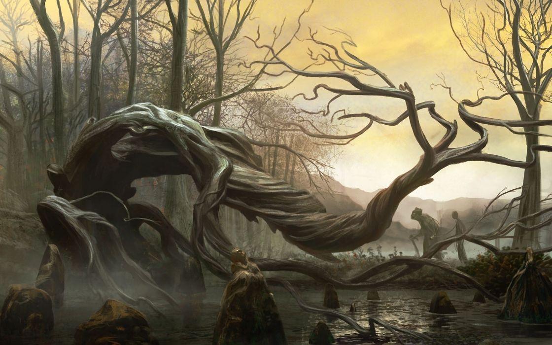 fantasy dark cg digital art spooky landscapes creepy trees wallpaper