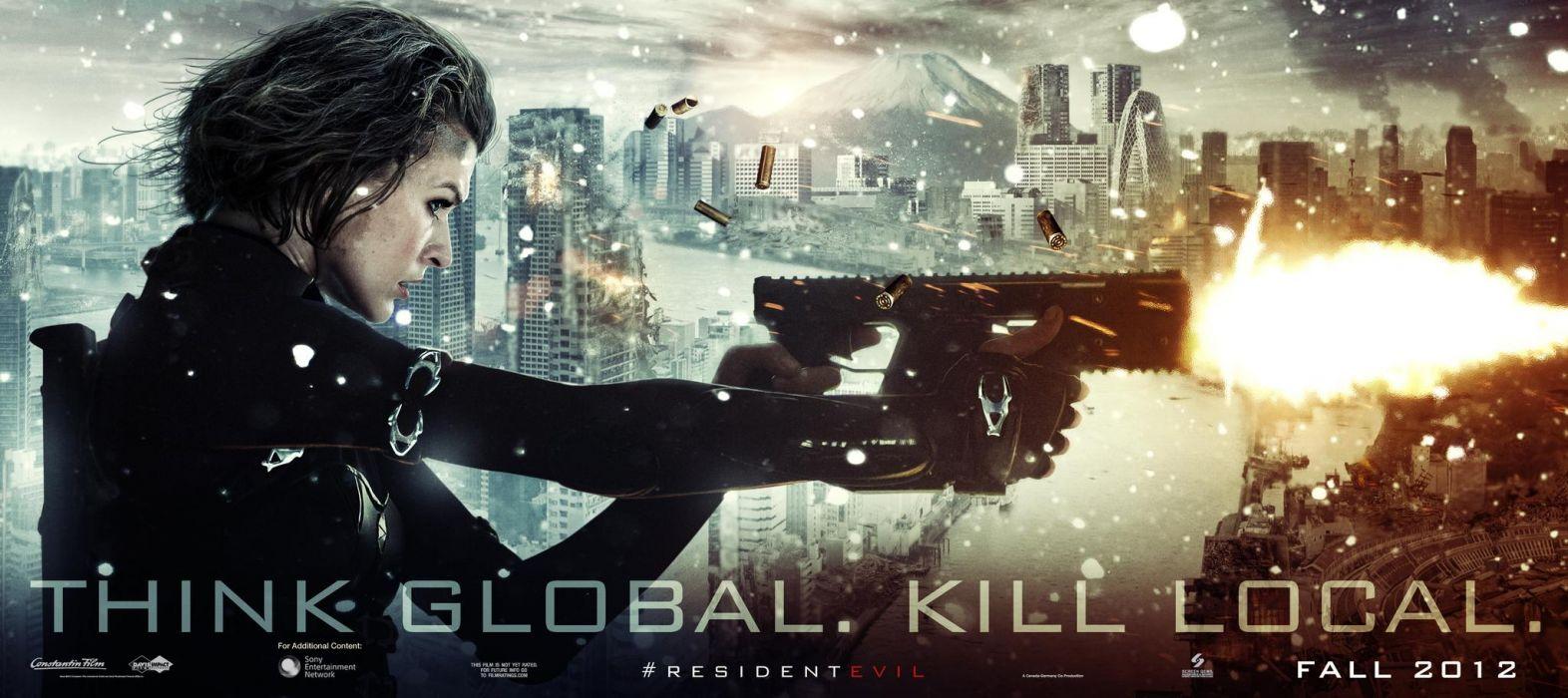 Milla Jovovich In Resident Evil Retribution dark horror     o wallpaper