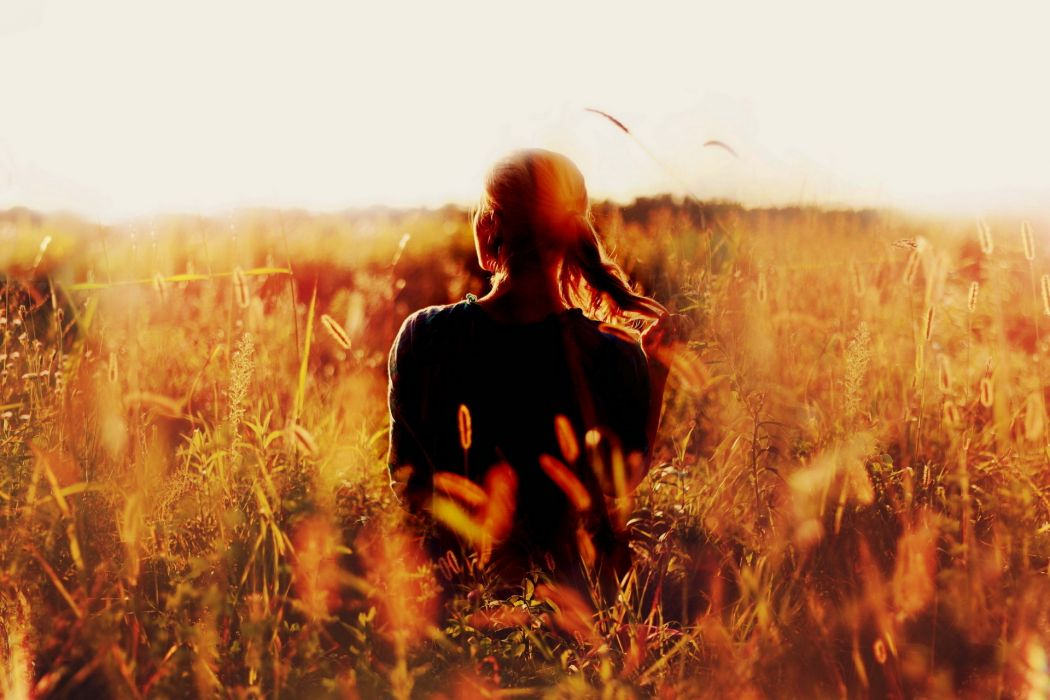 mood women blondes models females peace tranquility serene nature landscapes wheat grass plants sunset sunrise wallpaper
