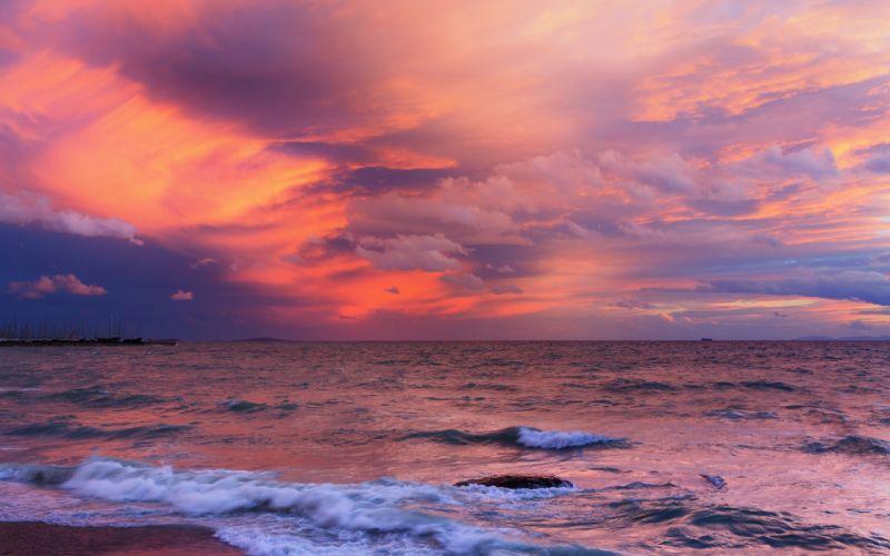 nature beaches ocean sea waves sky sunset sunrise wallpaper