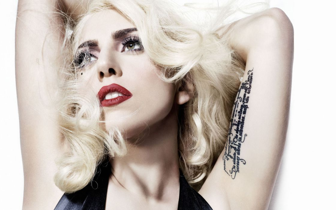 Lady Gaga singer musician celebrity women blondes sexy babes tattoo face females wallpaper