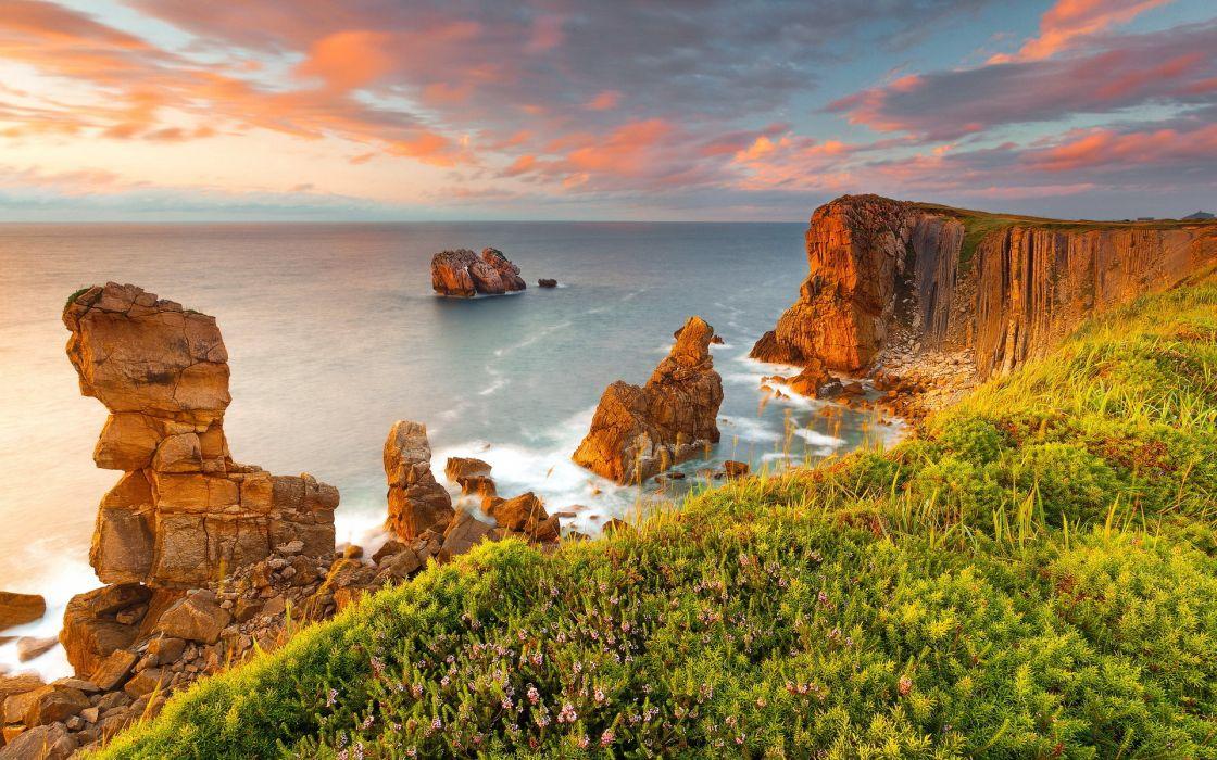 nature landscapes cliff coast shore ocean sea islands sky clouds sunset sunrise wallpaper