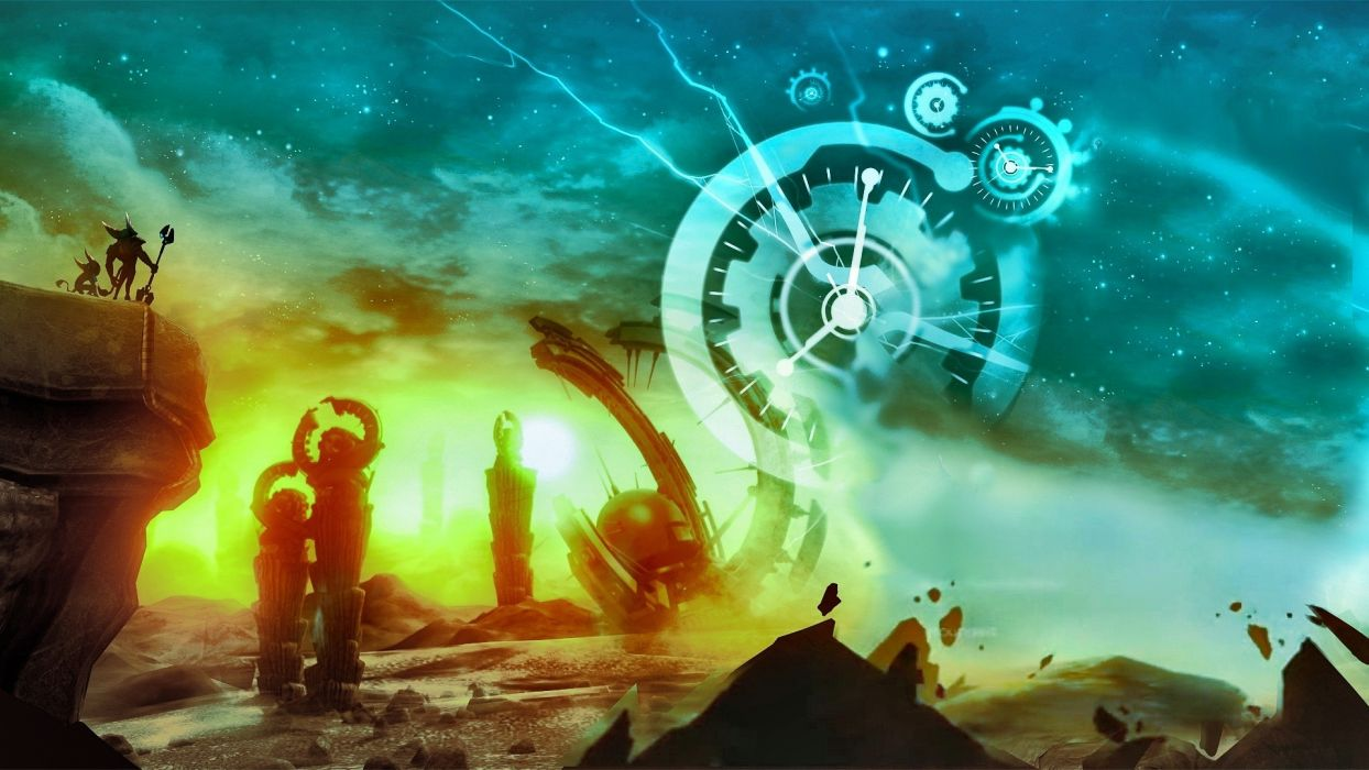 Ratchet and Clank video games cg digital art fantasy landscapes sky stars cartoon wallpaper