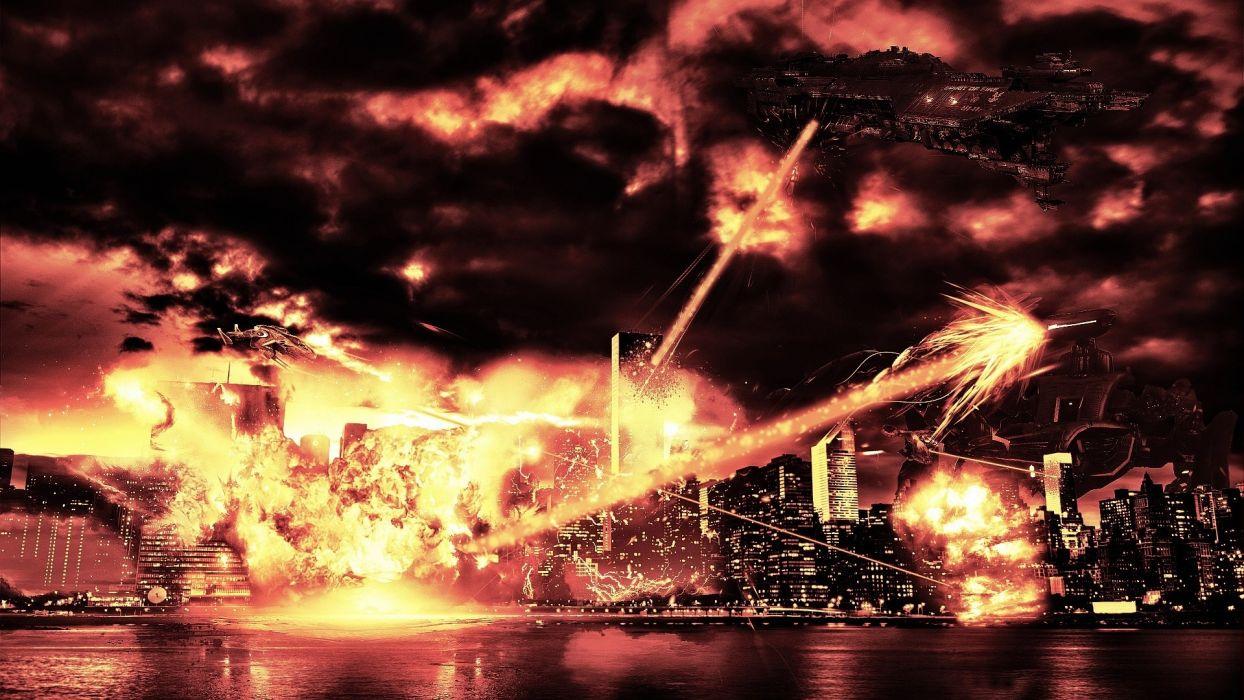 sci-fi cg digital art invasion apocalyptic alien spaceship spacecraft fire weapons cities dark destruction wallpaper