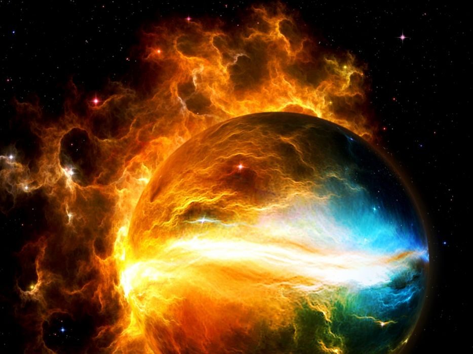 sci-fi cg digtal art space outer planets apocalyptic destruction nebula stars wallpaper