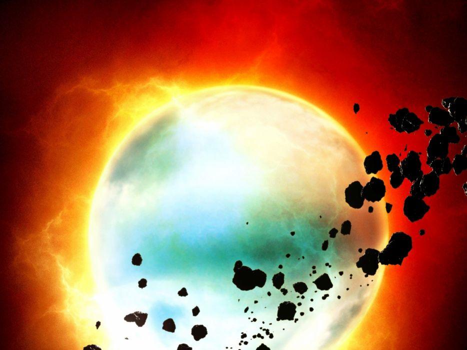 sci-fi space cg digital art planets stars sun wallpaper