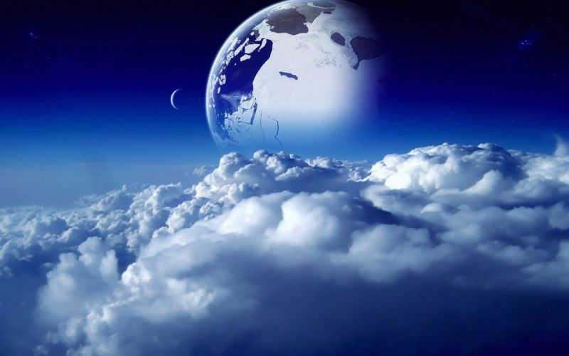 sci-fi space nature clouds sky dream moon planets stars cg digital art wallpaper