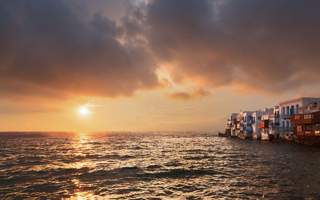 world architecture buildings houses ocean sea sky clouds sunset sunrise reflection wallpaper