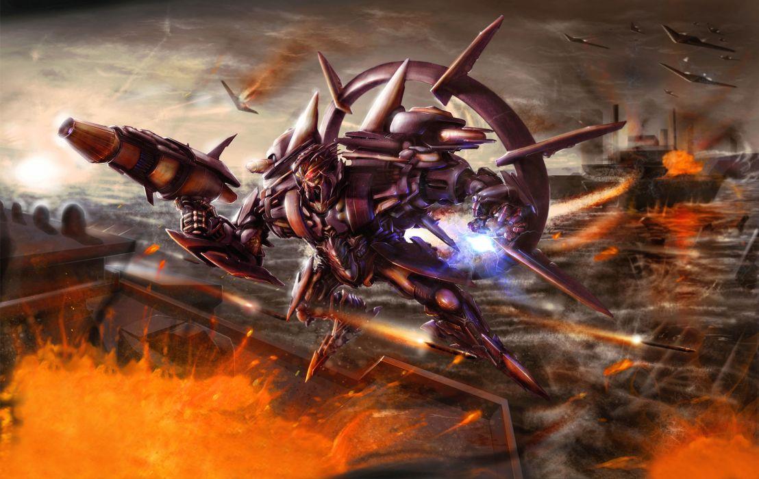Transformer war explosions battles sci-fi robots weapons video games mecha wallpaper