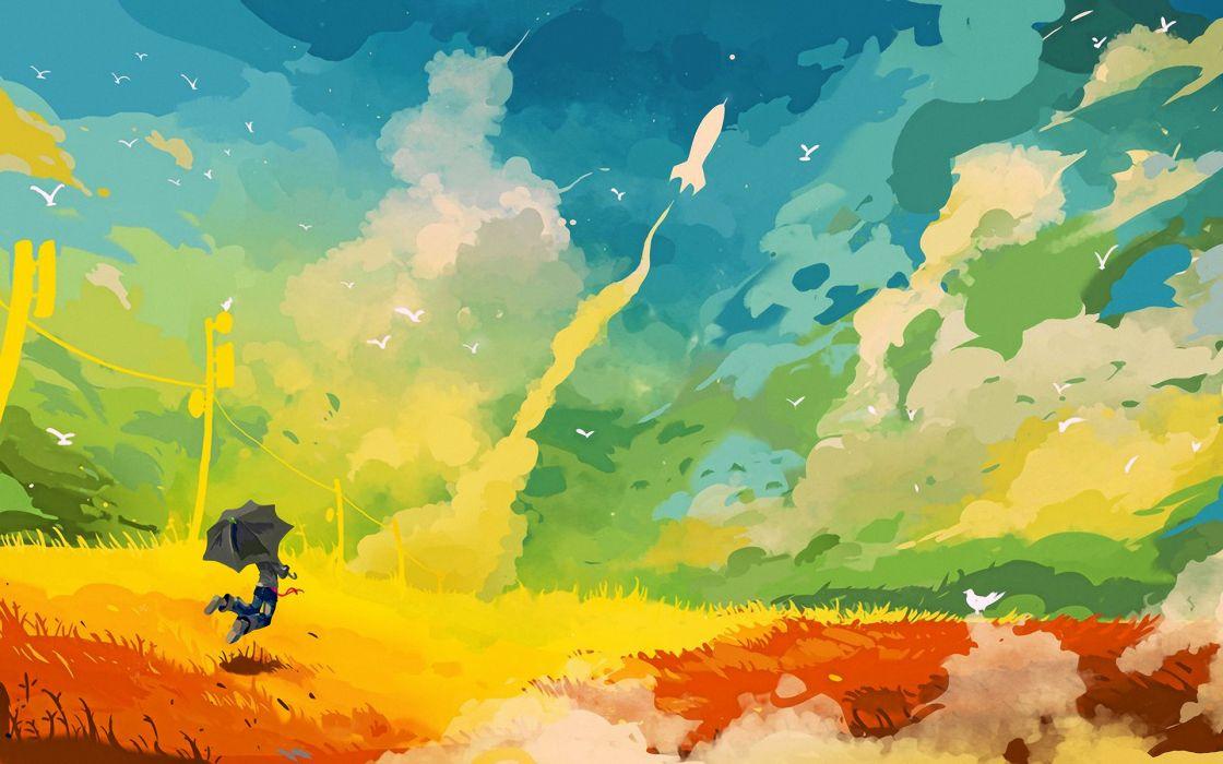 Umbrella Rocket Field Abstract Drawing fantasy color sc-fi birds landscapes wallpaper