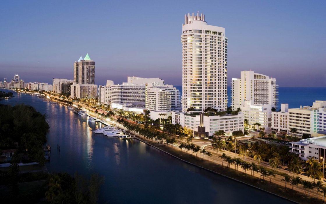USA Florida Miami cities jetty islands architecture buildings skyscraper ocean sea marina boats sky sunset sunrise wallpaper