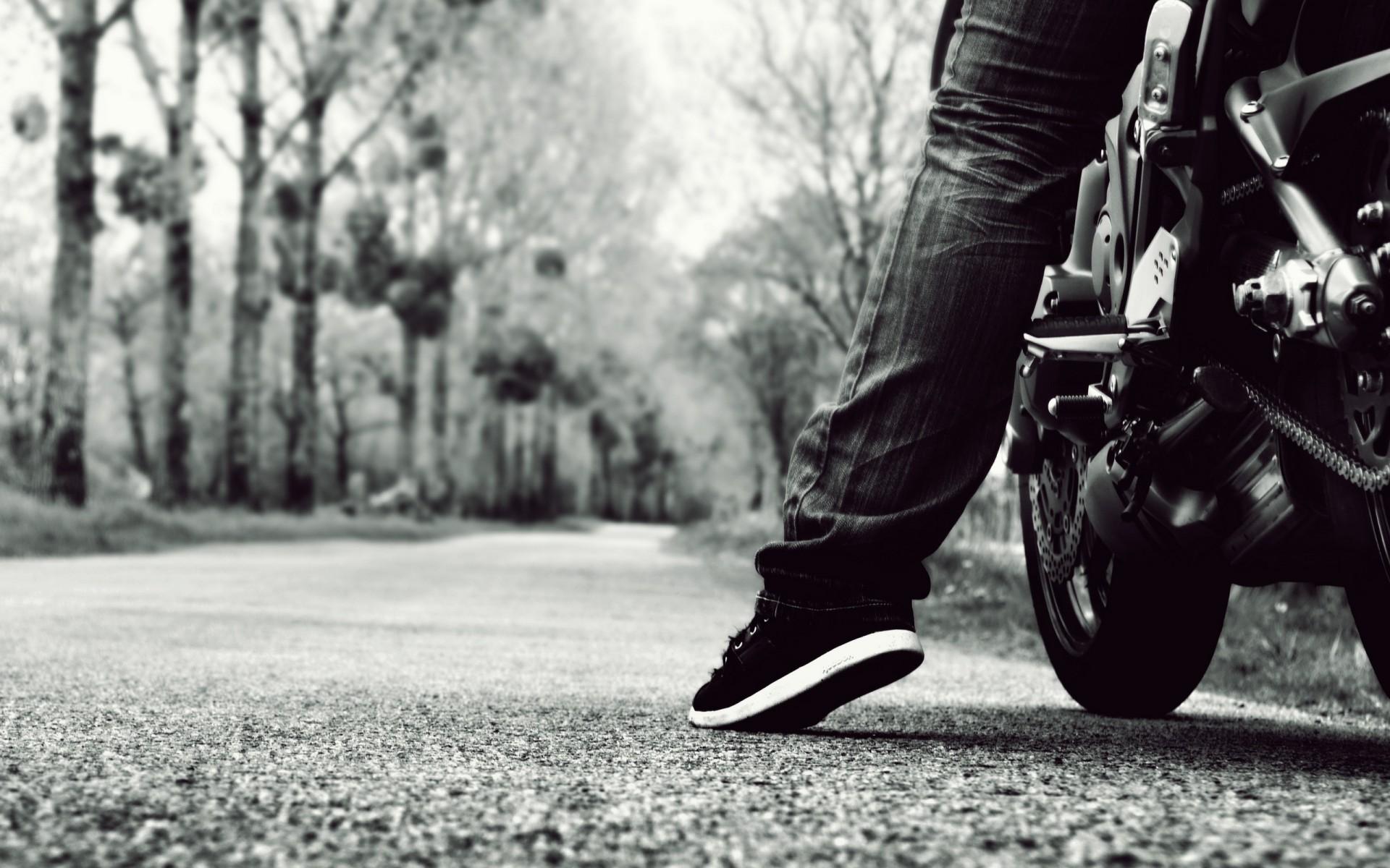 vehicles motorcycles bikes people roads mood black white wallpaper