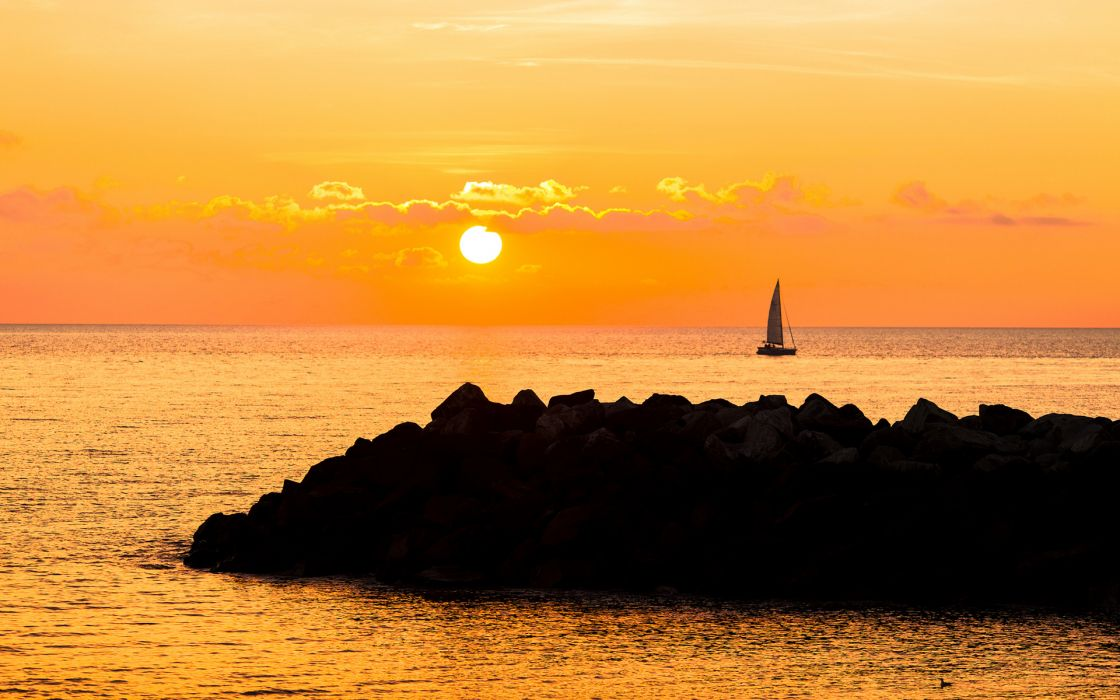 vehicles sail boats sailing mood nature ocean sea sky clouds sunset sunrise rock wallpaper